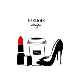 Fashion set design with a picture of shoes, glasses, cup of coffee on a white background with the inscription Fashion design. Fashion beauty logo template design
