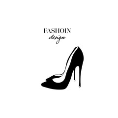 Hand drawn black women shoes heels. Fashion design. Ink hand drawn picture sign sketch in art doodle style. Perfect for logo, logotype, invitation, greeting card, poster, etc