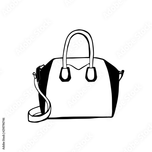 Woman bag hand drawn, female stylish purse vector fashion illustration  black on white line. Ink hand drawn picture sign sketch in art doodle style. 36422b1a4f