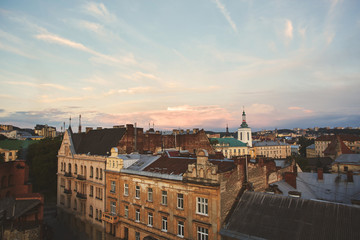 A view from rooftop on Lviv city skyline