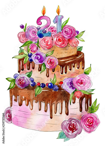 Birthday cake watercolor. Illustration for age stock