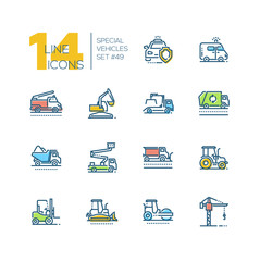Cars - set of line design style colorful icons