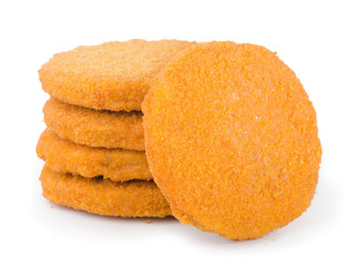 Stack of frozen breaded fish patties