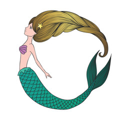 Cute hand drawn young mermaid.