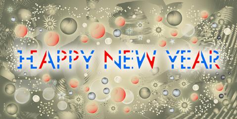 Bonne année écrit en anglais sur un fond or contemporain