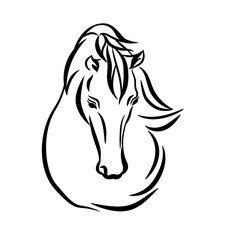 Horse head graphic logo template, vector illustration on white background. Stylish horse head outline for stable, farm, club race design. Racer or rearing mustang and running stallion.