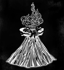 Hand drawn volcano. Nature disaster. The eruption and smoke against the sky with clouds.
