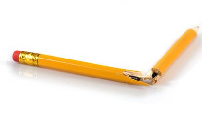 isolated image of broken pencil closeup