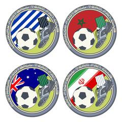Soccer Fan Logo vol.5. Vector illustration of a color logo for football fans of teams from Uruguay, Morocco, Australia and Iran.