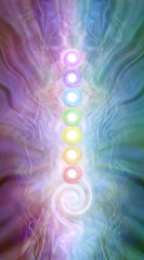 Kundalini Chakra masculine feminine diagram - seven chakras stacked with a kundalini spiral at the base on a purple pink blue green energy formation background