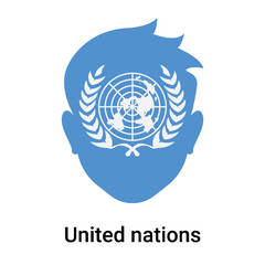 United nations icon vector sign and symbol isolated on white background, United nations logo concept