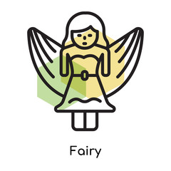 Fairy icon vector sign and symbol isolated on white background, Fairy logo concept