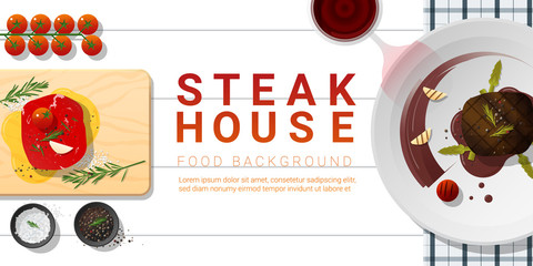 Raw fresh meat and grilled meat tenderloin steak on white table , healthy food background , vector , illustration