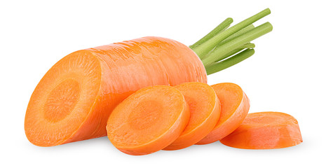 Fresh clean carrots with stems, ring slice