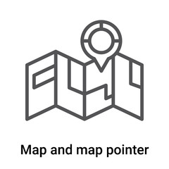 Map and map pointer icon vector sign and symbol isolated on white background, Map and map pointer logo concept