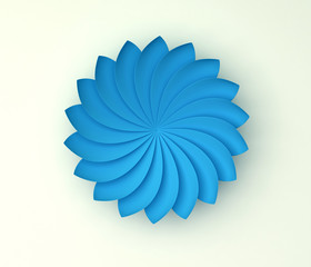 Single color decorative blue flower on white background. Paper origami.