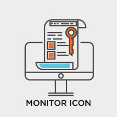 Monitor icon vector sign and symbol isolated on white background, Monitor logo concept
