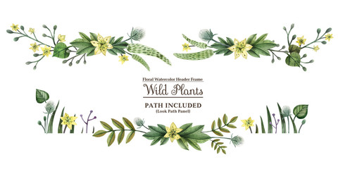 Wild Plants hand painted watercolor headline banner
