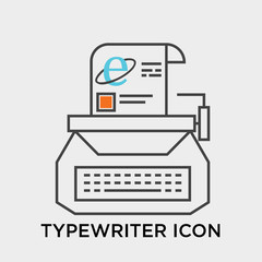 Typewriter icon vector sign and symbol isolated on white background, Typewriter logo concept