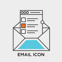 Email icon vector sign and symbol isolated on white background, Email logo concept