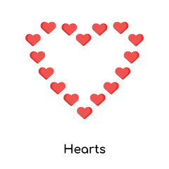 Hearts icon vector sign and symbol isolated on white background, Hearts logo concept