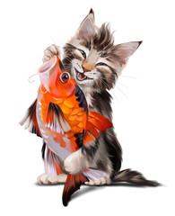 Fluffy cat and Koi Japanese fish