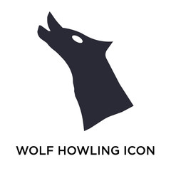 Wolf howling icon vector sign and symbol isolated on white background, Wolf howling logo concept