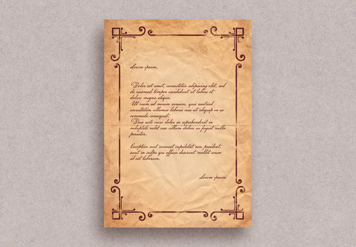 Vintage Letter Layout with Border Ornaments