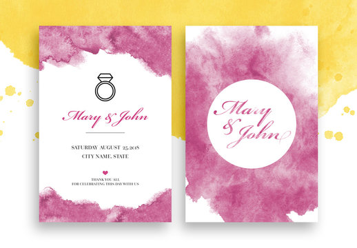 Wedding Invitation Layout with Watercolor Elements