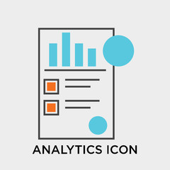 Analytics icon vector sign and symbol isolated on white background, Analytics logo concept