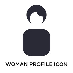 Woman Profile icon vector sign and symbol isolated on white background, Woman Profile logo concept