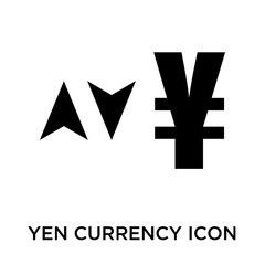 Yen currency sign with up and down arrows icon vector sign and symbol isolated on white background, Yen currency sign with up and down arrows logo concept