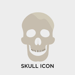 Skull icon vector sign and symbol isolated on white background, Skull logo concept