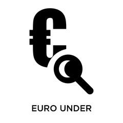 Euro under magnifying glass search icon vector sign and symbol isolated on white background, Euro under magnifying glass search logo concept