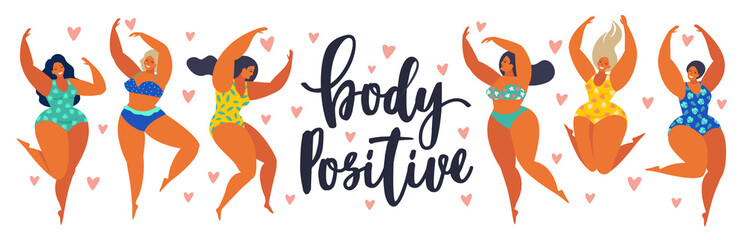 Body positive. Happy girls are dancing. Attractive overweight woman. Vector illustration.