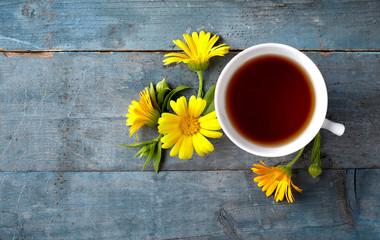 Calendula tea with flower