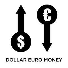 Dollar euro money exchange icon vector sign and symbol isolated on white background, Dollar euro money exchange logo concept