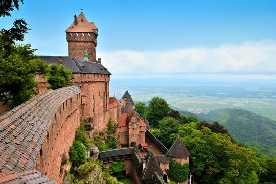 Overlooking the medieval castle of Haut Koenigsbourg, Alsace, France