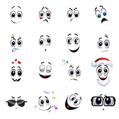 Set of various face emoji icons. Vector illustration of cartoon faces expressions. Collection of cute lovely emoticon emoji cartoon face.