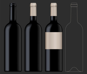 Realistic vector illustration of black wine bottle Isolated on dark background. Front view of the wine bottle with label, bottle without label and linear technical drawimg of the wine bottle.