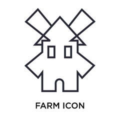 Farm icon vector sign and symbol isolated on white background, Farm logo concept