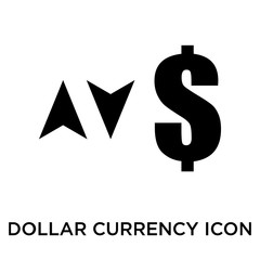 Dollar currency sign with up and down arrows icon vector sign and symbol isolated on white background, Dollar currency sign with up and down arrows logo concept