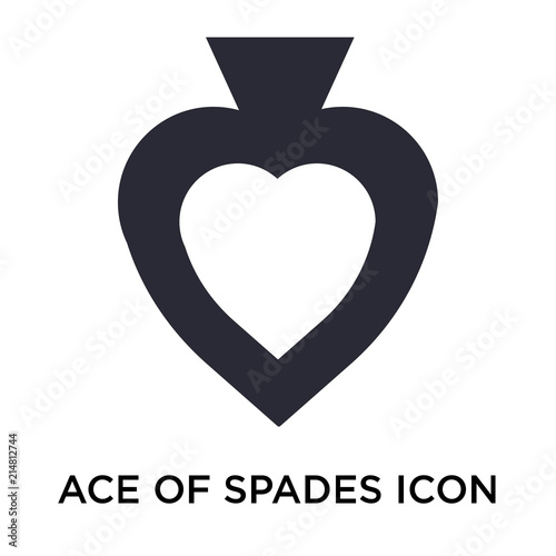 Ace Of Spades Icon Vector Sign And Symbol Isolated On White