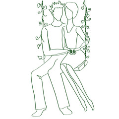 couple of lovers on swing