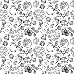 berry-fruit pattern with pies