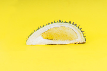Durian on yellow background.