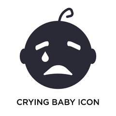 Crying baby icon vector sign and symbol isolated on white background, Crying baby logo concept