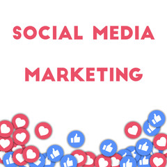Social media marketing. Social media icons in abstract shape background with scattered thumbs up and