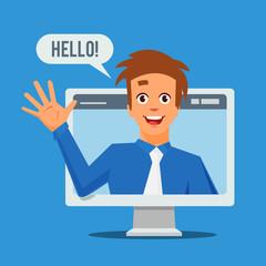 Webinar concept. E-learning concept. Educational teacher on the screen. Vector stock.