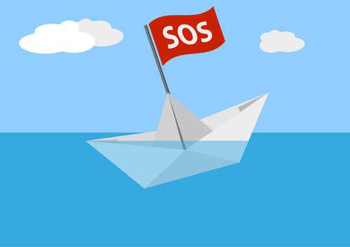sinking paper boat on sea against blue sky vector illustration